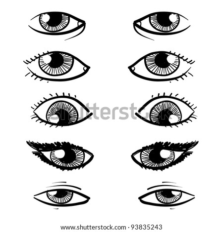 Doodle style eyes sketch in vector format - includes a variety of eyes with lashes, shapes, and makeup