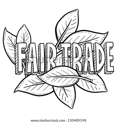 Doodle style fair trade food illustration in vector format.  Includes text and leaves.