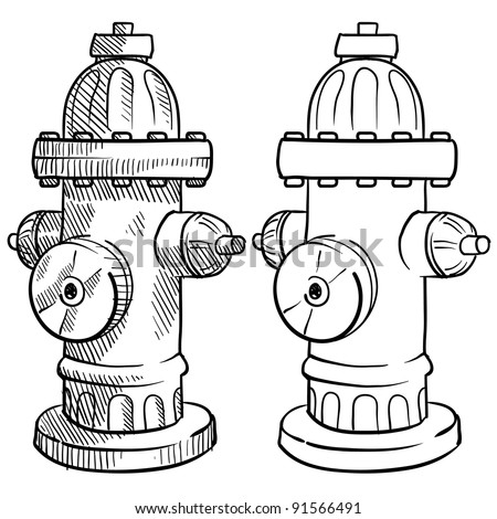 Doodle style fire hydrant vector illustration