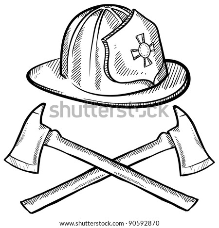 Doodle style firefighter's helmet and axes in vector format