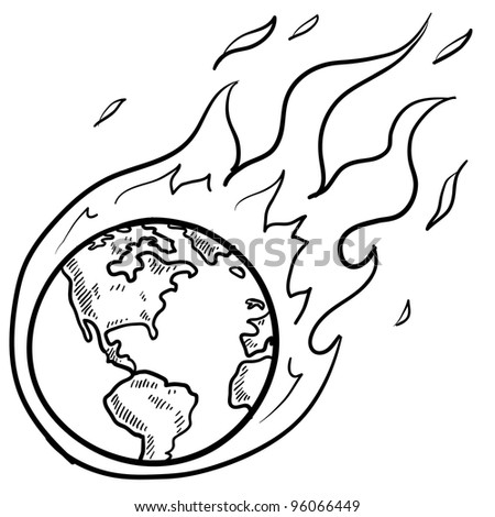 Doodle style flaming globe illustration in vector format