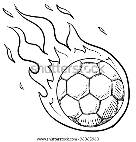 Doodle style flaming soccer or futbol illustration in vector format