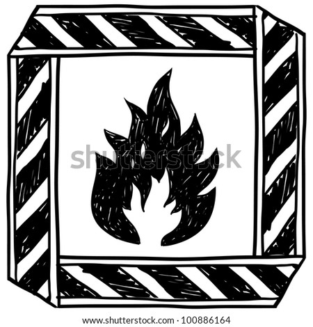 Doodle style flammable warning illustration in vector format