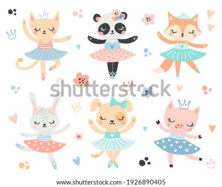 Doodle style flat vector ballet animals. Ballerinas cat, panda, fox, bunny, dog, pig Foto stock ©