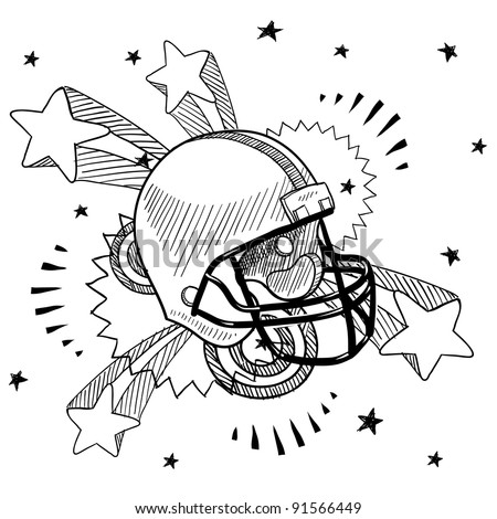 Doodle style football helmet illustration in vector format with retro 1970s pop background