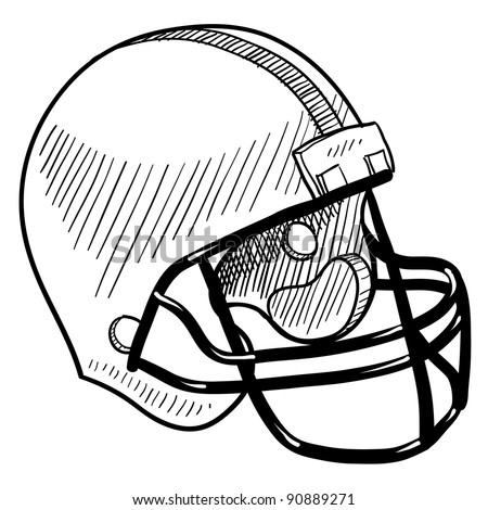 Doodle style football helmet sports equipment in vector format