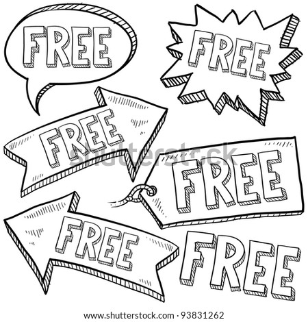 Doodle style free tags, labels, and arrows sketch in vector format