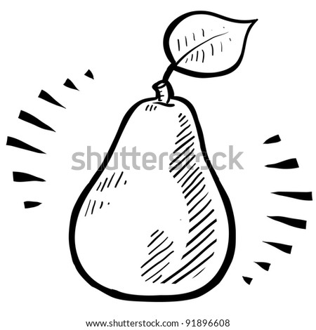 Doodle style fresh, juicy pear illustration in vector format