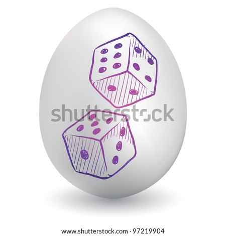Doodle style gambling or gaming dice sketch on decorated holiday Easter Egg in vector format