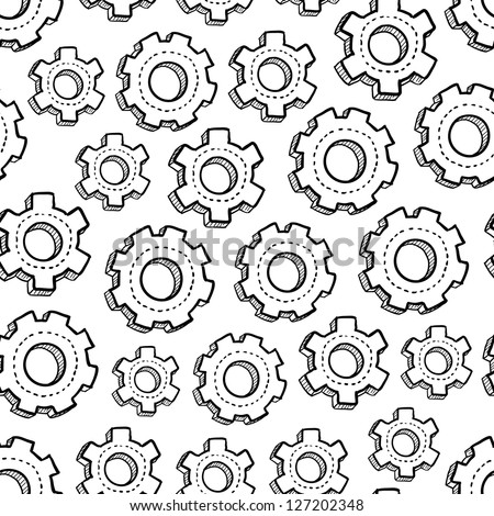 Doodle style gear and mechanical seamless vector background ready to be tiled.