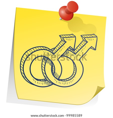 Doodle style gender symbols - male homosexual relationship - on yellow sticky note background