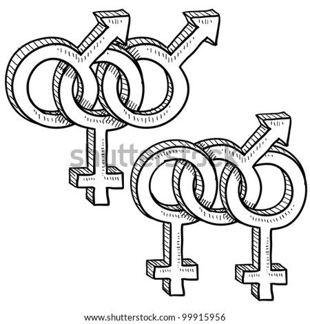 Doodle style gender symbols to indicate menage a trois - MMF and MFF