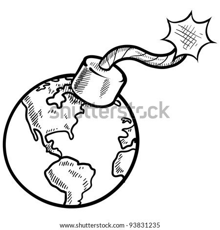 Doodle style global time bomb sketch in vector format