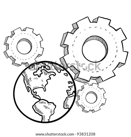 Doodle style globe in the gears sketch in vector format