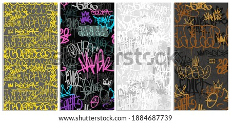 Doodle style graffiti street art  seamless pattern set of crowns and tags. Street art hand drawn endless background for print fabric and textile design. Abstract fashion prints. Graffiti Hip Hop tags