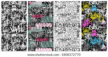 Doodle style graffiti street art  seamless pattern set.  street art hand drawn endless background for print fabric and textile design. Meaningless spray paint graffiti tags Hip Hop