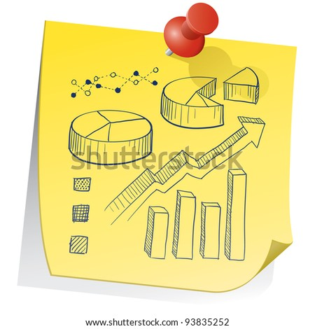 Doodle style graph and chart elements on yellow sticky note sketch in vector format