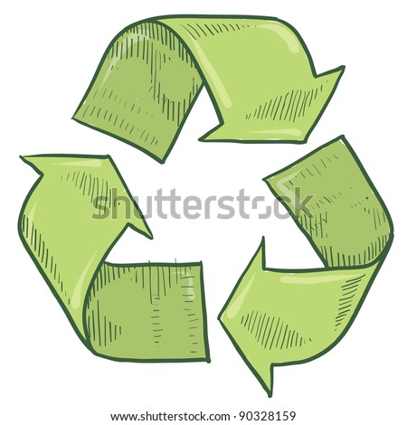 Doodle style green recycle symbol vector illustration