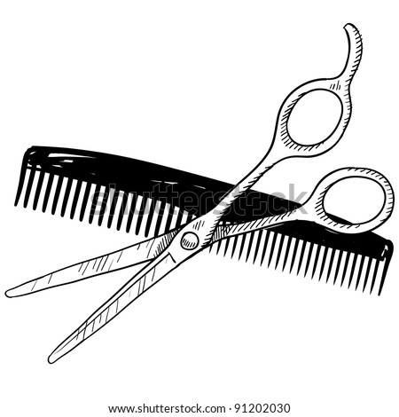 Doodle style hair stylist or barber scissors and comb illustration in vector format suitable for web, print, or advertising use.