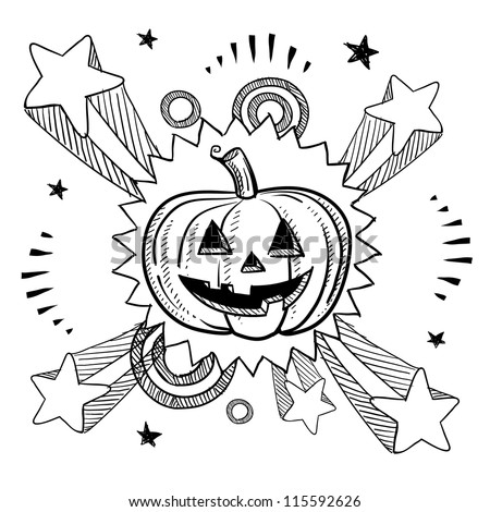 Doodle style Halloween excitement Jack o Lantern illustration in vector format.