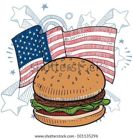 Doodle style hamburger with bun and condiments in front of a colorful American flag sketch in vector format