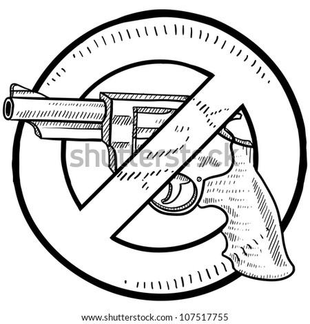Doodle style handgun ban or gun control illustration in vector format.  Includes a revolver surrounded by a circle with a line through it.