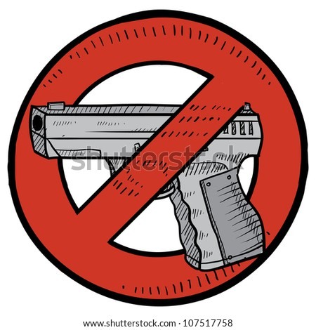 Doodle style handgun ban or gun control illustration in vector format. Includes automatic pistol surrounded by circle with a line through it.