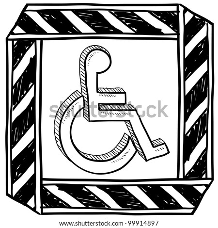 Doodle style handicapped wheelchair symbol with caution tape border