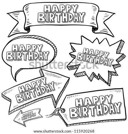 Doodle style Happy Birthday message tags, labels, banners and arrows in vector format. Can be used as an overlay, as background, or for a sticker effect on web or print materials.