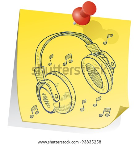 Doodle style headphones on yellow sticky note sketch in vector format