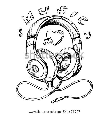 doodle style headphones sketch