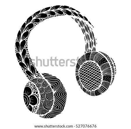 doodle style headphones vector