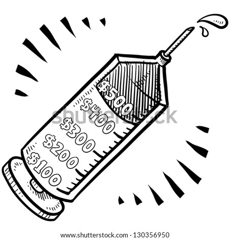 Doodle style health care costs illustration in vector format.  Includes syringe with price measurements.