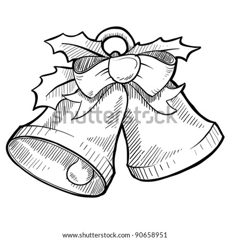 Doodle style holiday bells with holly leaves in vector format