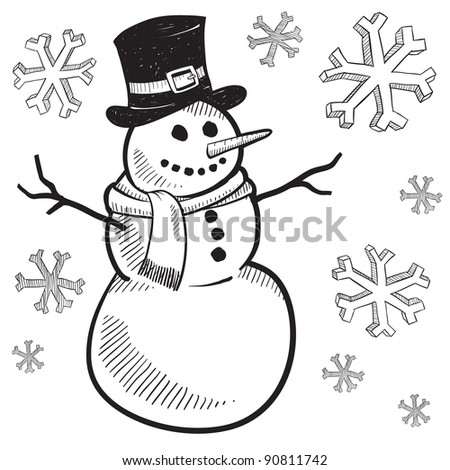 Doodle style holiday snowman illustration in vector format