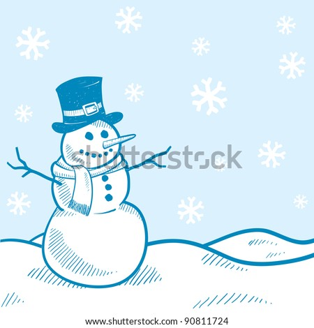 Doodle style holiday snowman landscape background illustration in vector format