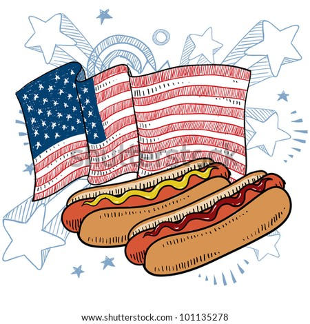 Doodle style hot dog with bun and condiments in front of a colorful American flag sketch in vector format