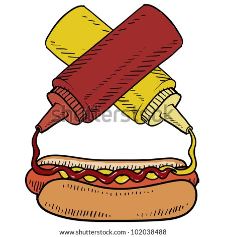 Doodle style hot dog with ketchup and mustard on a bun.  Condiments are crossed to balance the design. Vector format.