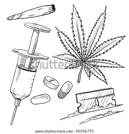 Doodle style illegal drugs illustration in vector format including pot, heroin, cocaine, and joint