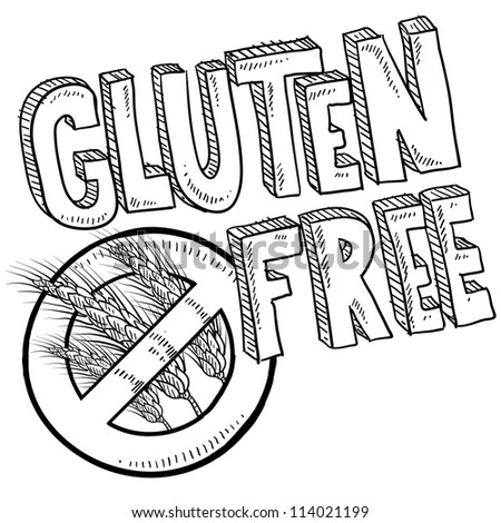 Doodle style illustration of a gluten free food or product label.  Includes no wheat or grain symbol and lettering.  Vector format.