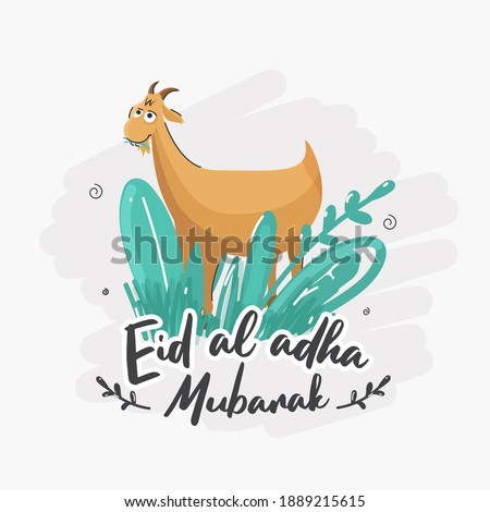 Doodle Style Illustration of Cartoon Goat with Green Grass or Leaves on White Background for Eid-Al-Adha Mubarak.