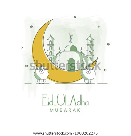 Doodle Style Illustration Of Crescent Moon With Mosque And Two Cartoon Sheep On White Background For Eid-Al-Adha Mubarak.