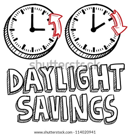 Doodle style illustration of Daylight Savings Time, including clocks moving forward and backwards to illustrate the time change. Vector format.