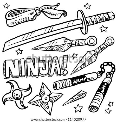 Doodle style illustration of ninja weapons including throwing knives, katana, shuriken, and nunchaku. Vector format.