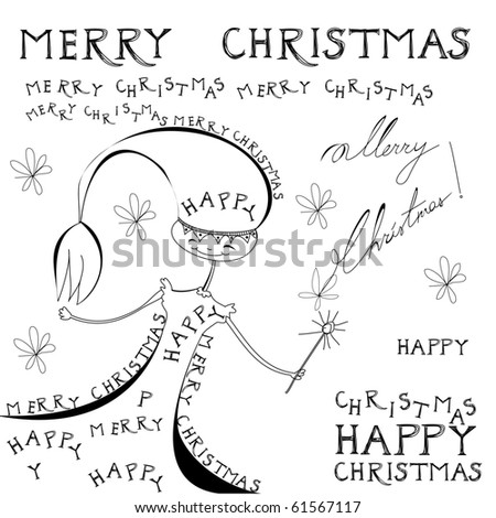 Doodle style illustration with inscription Merry Christmas