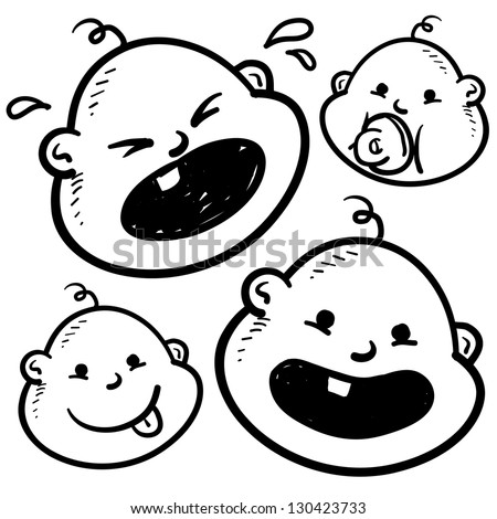 Doodle style infant or baby illustration in vector format.  Includes several looks, crying, smiling, with pacifier, and with tongue sticking out.