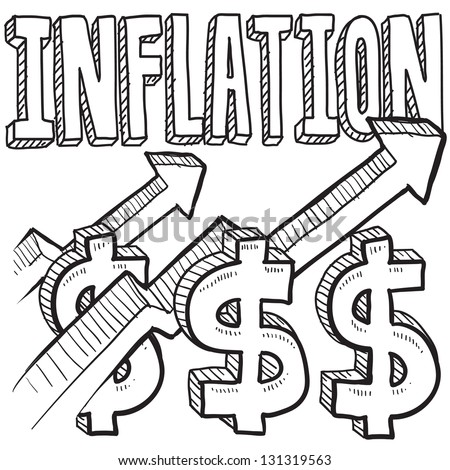 Doodle style inflation is increasing icon in vector format.  Includes text, up arrow, and dollar signs.