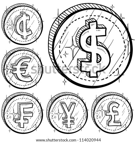 Doodle style international currency symbol coins.  Set includes American Dollar, Cent, Euro, French Franc, Japanese Yen, and British Pound Sterling. Vector format.
