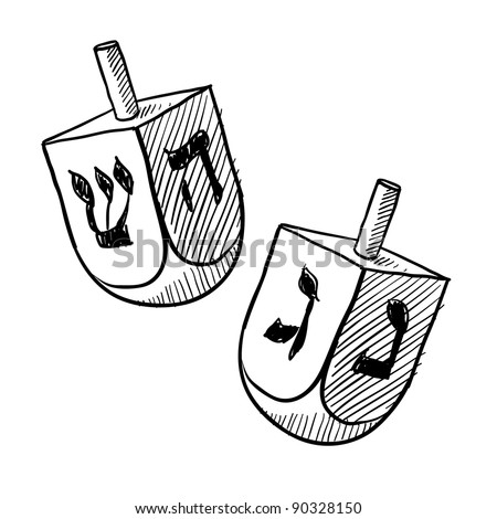 Doodle style Jewish dreidel or draydl vector illustration