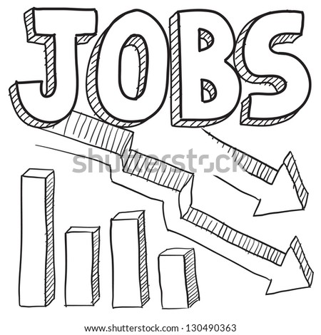 Doodle style jobs decreasing or unemployment illustration in vector format.  Includes text and down arrow with bar graph.